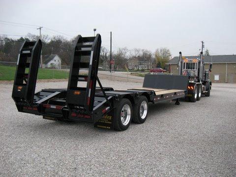black, steel drop deck trailer